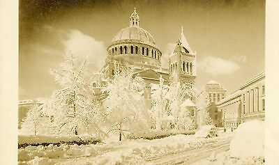 First Church of Christ in Boston Mass After a Heavy Snow Fall RPPC real photo