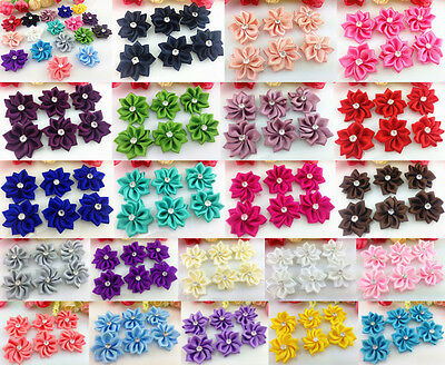 DIY 10-50PCS Satin Ribbon Flower with Crystal Bead Appliques~Craft/Trim
