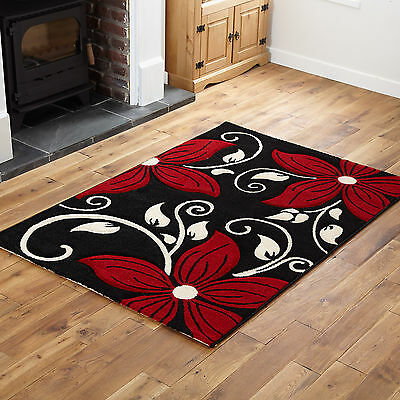 Small Medium Large Extra Large Soft Black Red Unique Flowery Design Rugs