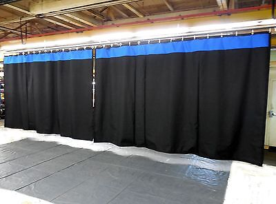 Lot of (2) Stage Curtain/Backdrop, 9 H x 15 W, Non-FR, Black w/ Accent Color