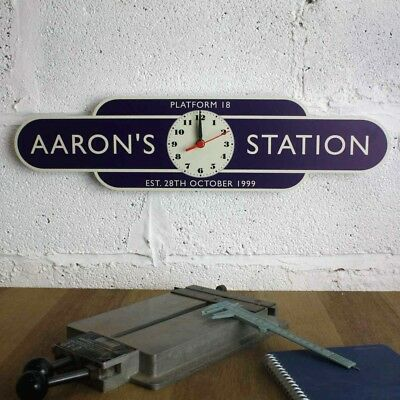 Railway Totem Station Clock Sign, Personalised Metal Sign, Train Station Clock