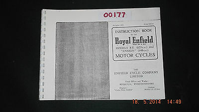Royal Enfield Modeld RE (125cc) and Ensign (148cc) Instruction Book 00177 [3103]