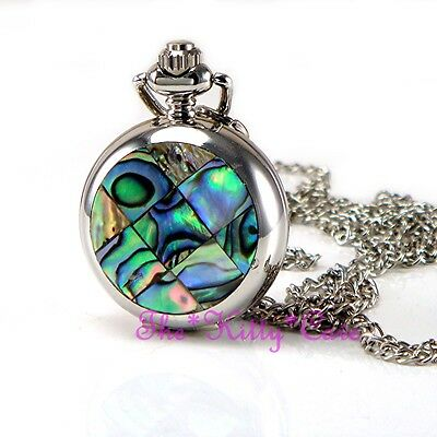 Miniature Silver Abalone Mosaic Pocket Half Hunter Steampunk Necklace Fob Watch