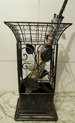 Antique Looking Copper Brown Square Metal Wrought iron Umbrella Holder Stand