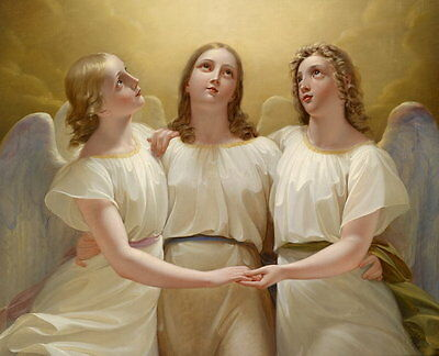 Art oil painting beautiful young angel girls on the way to Heaven free shipping
