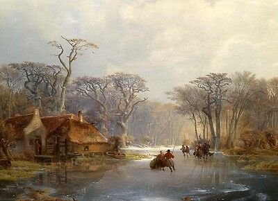 No framed oil painting villagers skaters on ice in winter landscape canvas 36""