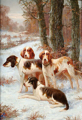 """Art oil painting four dogs Hounds in winter sunset forest landscape canvas 36"""""""