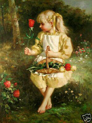 Oil painting lovely and cute little girl holding spring flowers roses in view