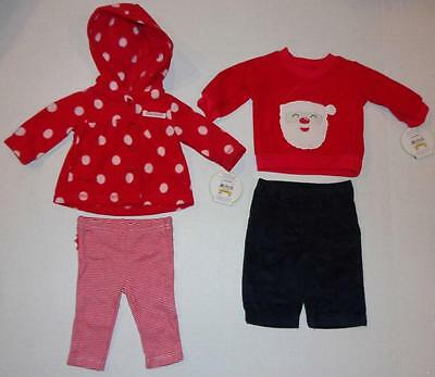 Infant Baby Girls Boys 0 3 6 Months CHRISTMAS OUTFIT Holiday Shirt Pants SANTA