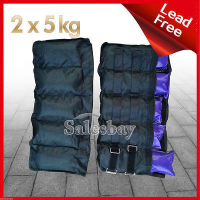 2x 5kg Ankle Wrist Weights Double Straps Soft Satchel GYM Equipment Fitness Yoga