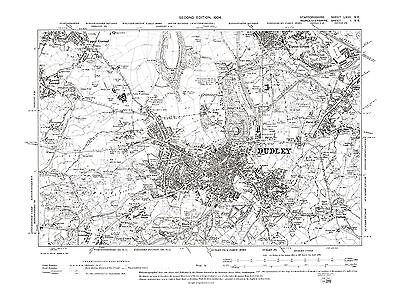 Old Map of Dudley, Upper Gornal, Staffs. in 1904- Repro 67 SE
