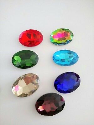 1pcs 18mm x 25mm OVAL Chaton Crystal Glass Fancy Stone Cabochon Pointed Back