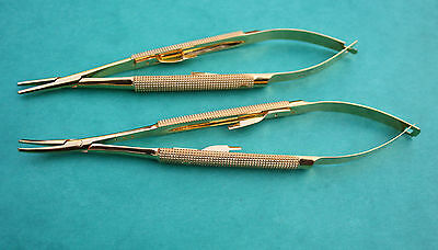 "Set of 2 Micro Gold Castroviejo Needle Holder Str &Cvd 6"" Surgical Instrument CE"