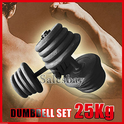25Kg Adjustable Dumbbell 2 Pcs Weights Set Home GYM Exercise Fitness Strenght