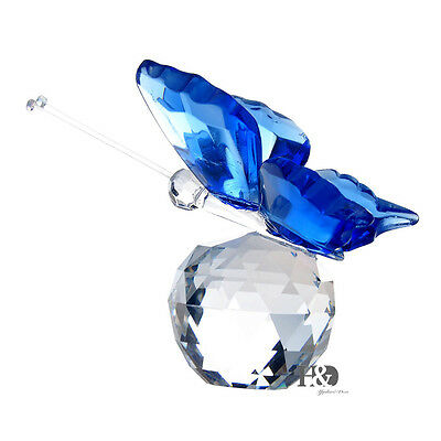 New Crystal Glass Cut Lovely Blue Butterfly Parked Clear Ball Child Gift Decor