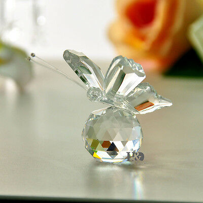 New Clear Crystal Glass Cut Lovely Small Butterfly Parked Ball Child Gift Decor