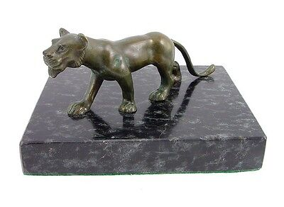 Solid Bronze Lion Figurine on Marble