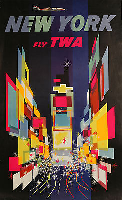 TWA usa airline travel vintage art print new york  canvas or poster painting