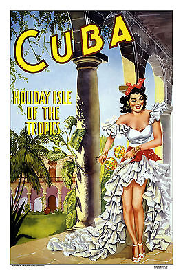 "cuba travel vintage art print poster canvas or satin  28""x 20"" painting dancer"