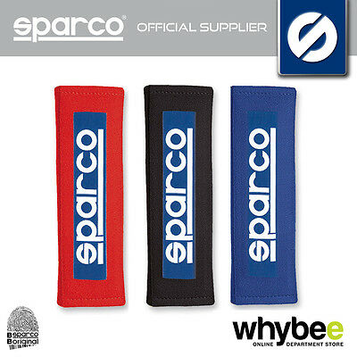 """01098S3 Sparco Racing Seat Belt 3"""" Harness Pads Velour (2) - Black / Red / Blue"""