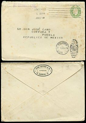 GB KE7 STATIONERY 1908 to MEXICO ROSING BROS PRIVATE