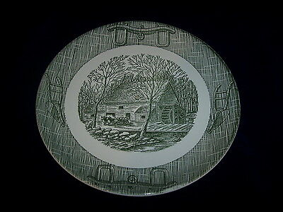 Royal China Currier and Ives Green Old Grist Mill With Yoke and Plow