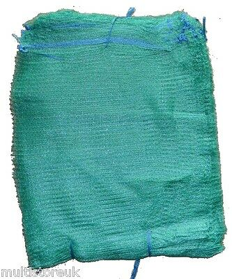 Green Net Sacks with Drawstring Raschel Bags Mesh Vegetables Logs Kindling Wood