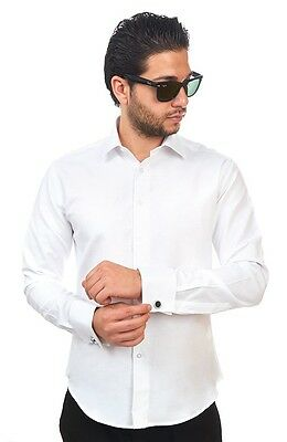Tailored / Slim Fit Mens French Cuff White Dress Shirt Wrinkle-Free By AZAR MAN