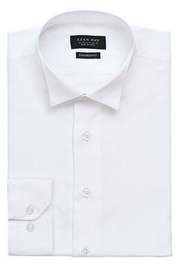 Slim / Tailored Fit Mens Wing Tip White Tuxedo Shirt Wrinkle-Free By AZAR MAN