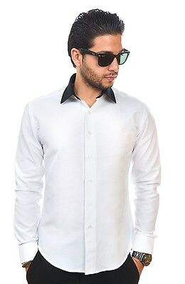 Slim / Tailored Fit Mens White & Black Collar Dress Shirt Wrinkle-Free AZAR MAN