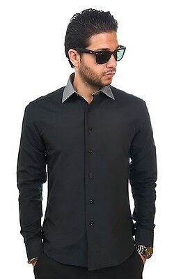 Slim / Tailored Fit Mens Black & Grey Collar Dress Shirt Wrinkle-Free AZAR MAN