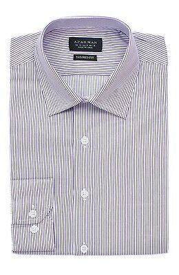 Slim / Tailored Fit Mens Lavender Stripe Dress Shirt Wrinkle-Free By AZAR MAN