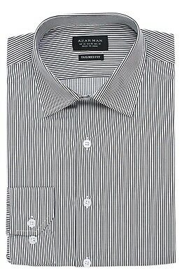 Slim / Tailored Fit Mens Gray Stripe Dress Shirt Wrinkle-Free Cotton By AZAR MAN