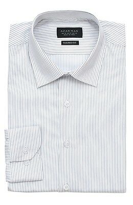 Slim / Tailored Fit Mens White Narrow Stripe Dress Shirt Wrinkle-Free By AZAR