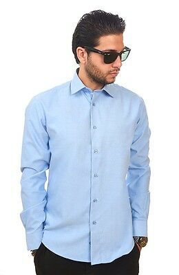 Slim / Tailored Fit Mens Light Blue Dress Shirt Wrinkle-Free Cotton By AZAR MAN
