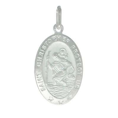 """7//8/"""" Sterling Silver St Christopher Pendant Made in Italy,18/"""" Box Chain Charm"""