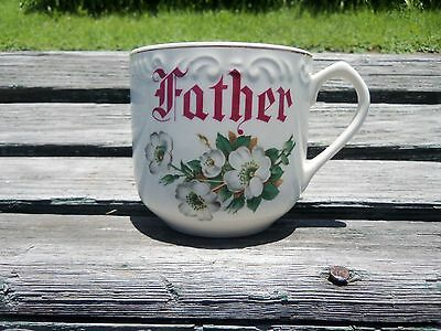 Vintage Father Father's Day Mug White Flowers & Gold Trim Japan