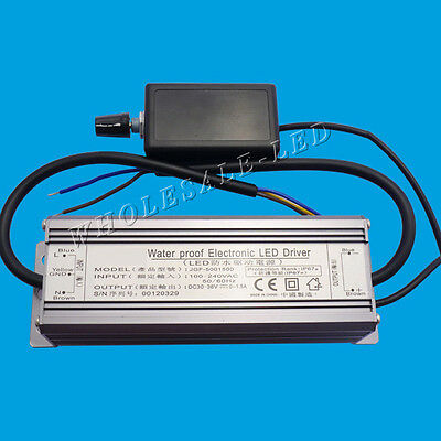 50W High Power LED Driver Dimmable IP67 Waterproof DC30-36V 1.5A with Dimmer