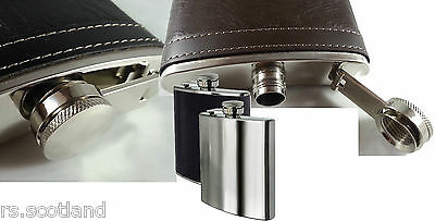 8OZ Hip Flask Stainless Steel &  Leather Effect New Stock