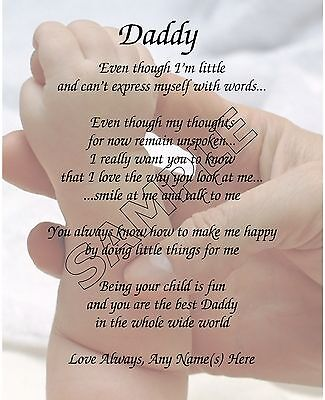 Daddy From Baby Personalized Poem Memory Birthday Father's Day Gift