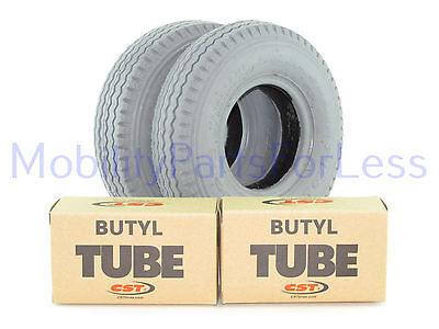 Pair of 2.80/2.50-4 Pneumatic Tires & Tubes - Sawtooth Tread - Primo Power Edge