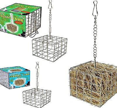 FEEDING CUBE - Metal Hang Hay Straw Food Grass Pet Animal Rabbit Hamster PawMits