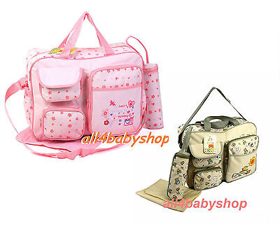 Large 3PCs Baby Nappy Diaper Changing Bags Beige Sun & Animals/PINK FLOWER