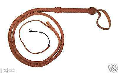 6 Foot 12 Plait TAN INDIANA JONES REAL LEATHER BULLWIP ( Leather Bull Whip )