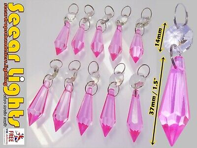 10 Chandelier Cut Glass Droplets Vintage Pink Drops Crystals Torpedo