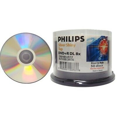 50-pk Philips 8x DVD+R Double Dual Layer Silver Shiny 8.5GB Blank Recordable DVD
