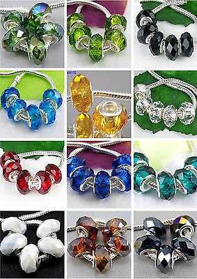 5pc Big Hole Faceted Glass Crystal Beads Fit European Charm Bracelet DIY Jewelry