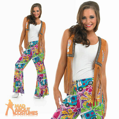 Adult 60s Ladies Psychedelic Flares Hippy Hippie Trousers Fancy Dress Costume