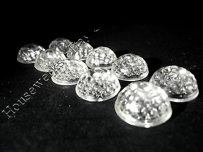 Vintage 10 CLEAR WHITE Glass * CATS EYE * (SAFETY REFLECTOR JEWELS) NOS Faceted