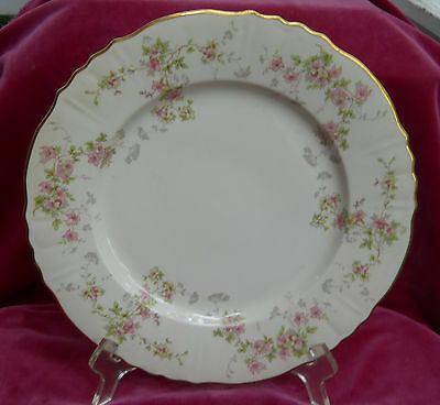 "SYRACUSE CHINA STANSBURY DINNER PLATE S 10 1/2 "" FEDERAL SHAPE PINK FLOWERS"